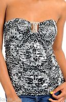 Black/Gray Floral Rhinestone Medallion Ruched Halter/Tube Top S/M/L