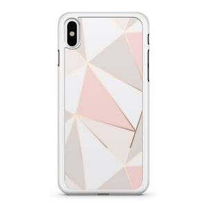Rose Gold Outlined Pink White Grey Filled Shapes Pattern 2D Phone Case Cover