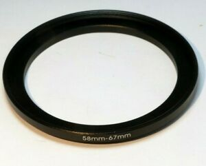 58mm to 67mm lens ring step up threaded smooth rim
