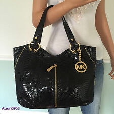 NEW! MICHAEL KORS Gorgeous Black Embossed Leather Medium Shoulder Bag Tote Purse
