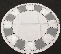 Embroidered Round Polyester Embroidery Tablecloth Side Table Cover White Wedding