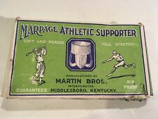 ANTIQUE JOCK STRAP IN BEAUTIFUL GRAPHIC BOX WITH GOLF AND FOOTBALL