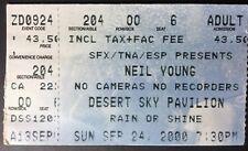 Neil Young - 9/24/00 Desert Sky Pavilion, Arizona Ticket Stub