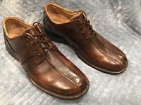 Clarks Men's Brown  Oxford Leather  Lace Up Shoes 12M .Black Heels And Trim