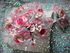 15 ANERA HOT PINK SIK FLOWER BOUQUET WITH HEADPIECE