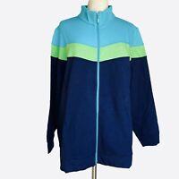 DENIM CO. Women's Plus Size 3X Navy Color Block Zip Front Long Sleeve Jacket