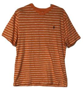 Polo Ralph Lauren Boys XL 18-20 Orange Striped V Neck Short Sleeve T Shirt NEW