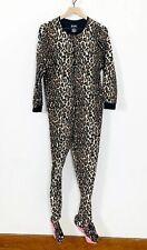 Nick & Nora Women's Footed Animal Leopard Print Pajamas Size Medium