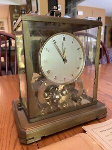 Vintage Mid Century Modern 1950s Brass Schatz 1000 Day Clock Key and Papers