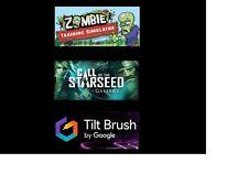 HTC Vive game bundle (Steam) - Tilt Brush, Zombie Training Sim, The Gallery Ep1