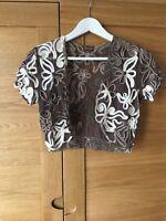 PHASE EIGHT Ladies Taupe Brown Ivory Applique Bolero Shrug Cropped Jacket UK8