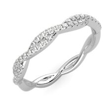 RRP £600 1/4 Carat Twisted Round Diamond Half Eternity Ring in Hallmarked Gold