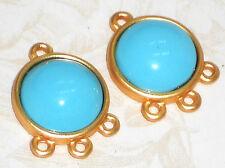 Vintage Connectors Bezel Blue Shabby Findings Earring Loops Chandelier NOS #1208