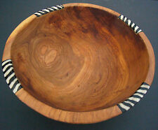 "Medium African Olive Wood Ethnic Salad Fruit Bowl - 9""-10"" diam. Fairtrade Craft"