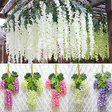 12PCS Artificial Silk Wisteria Fake Garden Hanging Flower Plant Weding Decor
