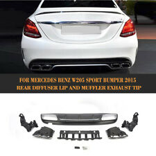 Rear Bumper Diffuser Muffler Exhaust Tips Fit for Benz W205 C200 C300 Sport 15UP
