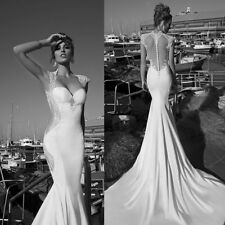 Custom Made Sexy Sleeveless Appliques Backless Trailing Mermaid Wedding Dress !