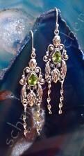 Ohrring im Jugendstil Olivin Peridot grün Stein des August Sterling Silber 925