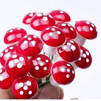 20pcs Mini Red Mushroom Garden Ornament Miniature Plant Pots Fairy Dollhouse LA