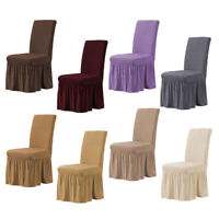 Ruffled Long Skirt Dining Room Chair Covers Wedding Chair Slipcovers Stretch