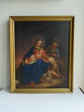 Antique The Holy Family WithThe Lamb 19. Jhdt. Biedermeier Öl Leinen Madonna