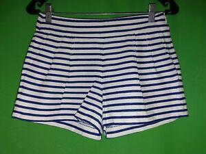 "6495) J CREW 0 blue stripe pleated shorts side zip 3"" cotton linen pockets 0"
