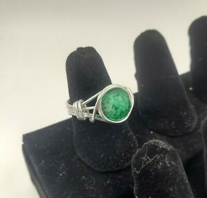 Wire Wrapped Silver Ring with Green Glass Stone, Women's, Girls, Gift