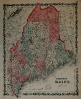 Maine State by itself 1842 boundary named 1862 Johnson & Ward map Scarce Issue