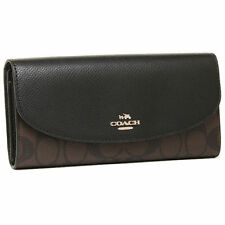 Coach Signature PVC CHECKBOOK WALLET BLACK/BROWN F57319 MSRP $250 TRIFOLD NWT