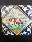 Antique Delft Dutch Polychrome Animal Tile - Unicorn 17th Century