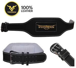 "TOROMAX® Gold Gym Belt 6"" Leather Lumbar Back Support Power Training Weight Lift"