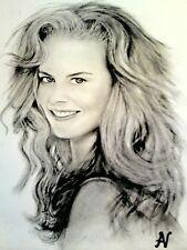 Nicole Kidman - ritratto portrait grafite e carboncino cm. 33 x 48