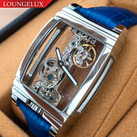 Mens Silver Bridge Manual Mechanical Watch - Blue Leather DIASTERIA 1688