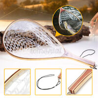 US Fly Fishing Landing Net Wooden Handle Rubber Mesh Trout Fish Catch Net Tool