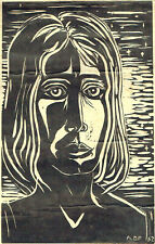 "Monotype Woodcut ""Portrait of a Woman: Signed: A.D.P 1962"
