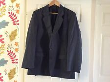 "marks and spencers mens suit jacket 42"" chest long blue pinstripe polyester/wool"