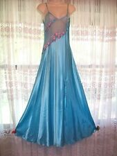 ADS COLLECTION LONG TURQUOISE BLUE GLOSS SATIN NIGHTGOWN GOWN~SHEER BUST~S/M~