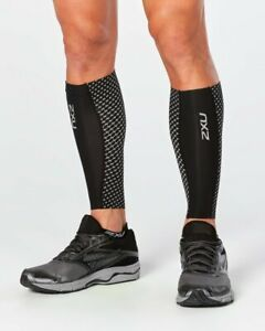 2XU Unisex's Compression Guards-UA4668b Calf Sleeve, Black/Silver Reflective