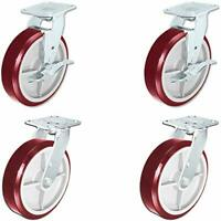 "CasterHQ - Heavy Duty Polyurethane Swivel Casters with Brake, 8"" x 2"" Size (Pack"