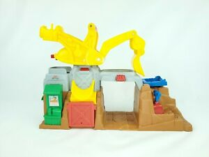 LITTLE PEOPLE Construction Site Boulder Worksite Sounds Tested & Working Playset