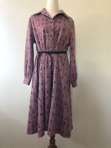 OSTI Australia Size 18 Red Grey Floral Print Long Sleeve Secretary Dress Vintage