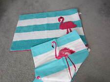 Flamingo Fabric Shower Curtain & Matching 20x30 Rug-tall mingos--Aqua/Pink--NIP