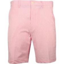 $98 Polo Golf Stretch Seersucker Shorts in Pink Flamingo, 32