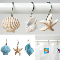 12pcs Resin Decorative Seashell Shower Curtain Hooks Bathroom Beach Shell Tools