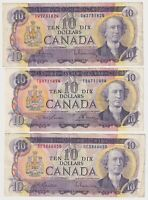 Canada $10 (1971) -3 Circulated Notes with 3 Different Signature Sets  ✹SB L28✹