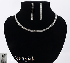 Women's CZ Gem Earring Choker Necklace Wedding Bride Prom Jewellery Set UK Sell