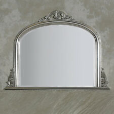 Antique Silver Wooden Over Mantle Mirror With Ornate Crest H 90 x W 120cm
