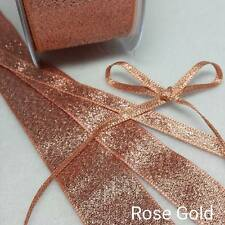 Berisfords Metallic Lame Glitter Sparkly Wedding Craft Christmas Ribbon 200 - Gold 7mm X 2 Mtrs