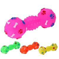 Dog Toys Dotted Dumbbell Shaped Dog Squeeze Squeaky Pet Chew Toy R1BO