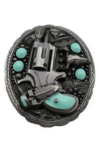 Men Western Fashion Buckle Silver Metal Revolver Gun Feather Bull Turquoise Bike